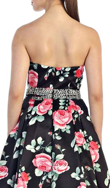 Strapless with Rhinestone Waistband Floral Print Formal Ball Gown