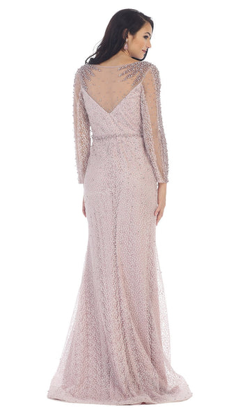 Sheer Pearls and Rhinestone Mesh Evening Gown