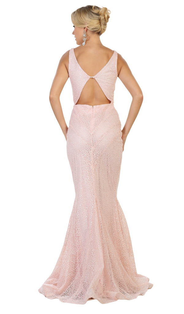 Beaded Mesh Mermaid Long Gown In Pink