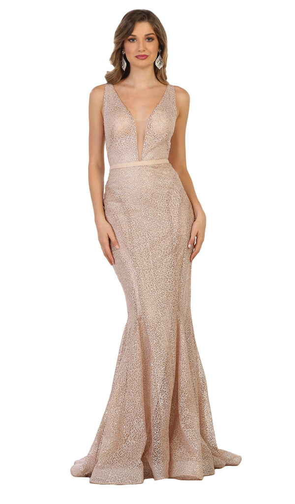 Beaded Mesh Mermaid Long Gown In Neutral