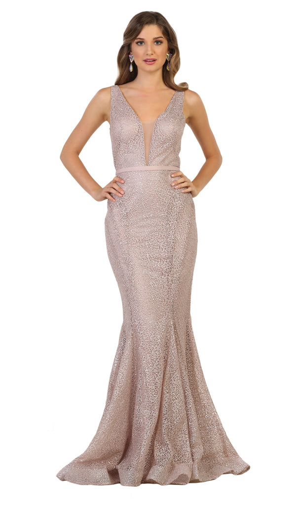 Beaded Mesh Mermaid Long Gown In Purple