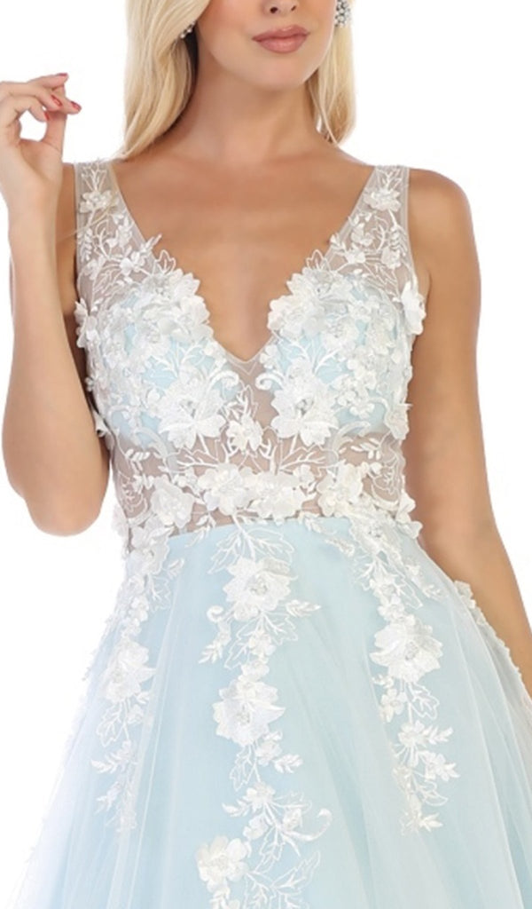 Floral Embroidered Plunging V-Neck Dress In White and Blue