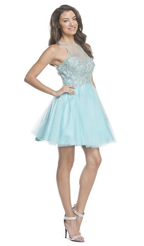 Ornate Sheer Halter A-line Homecoming Dress
