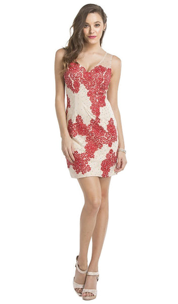 Embellished V-neck Sheath Cocktail Dress