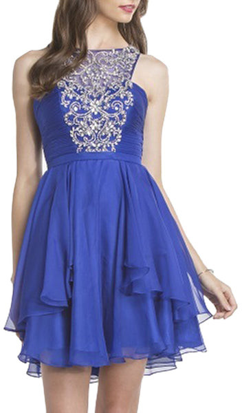 Bedazzled Halter Neck Homecoming A-line Dress - ADASA