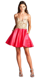 Bedazzled Illusion Halter Neck Prom Dress