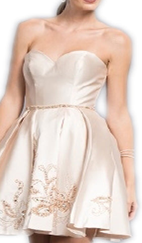 Beaded Strapless A-line Homecoming Dress