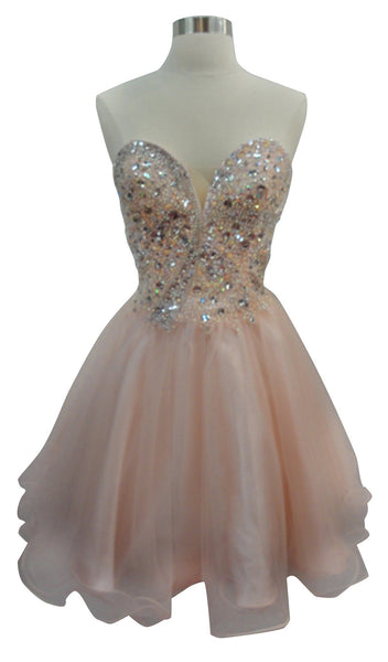 Strapless Glittering A-line Homecoming Dress