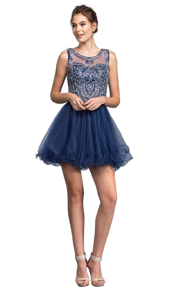 Beaded Illusion Jewel Homecoming A-line Dress - ADASA
