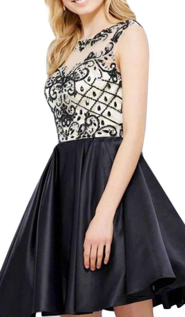 Nox Anabel - 6059 Sleeveless Illusion Adorned Cocktail Dress