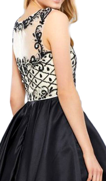 Sleeveless Illusion Adorned Cocktail Dress