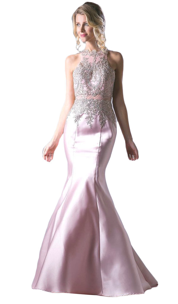 Metallic Lace Adorned High Neck Mermaid Evening Gown
