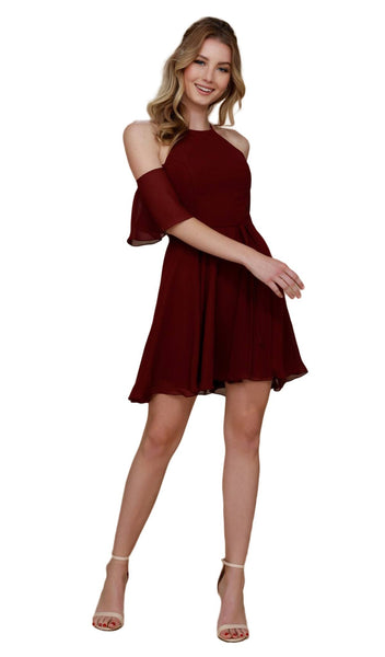 Nox Anabel - T667 Cold Shoulder Short Chiffon Dress