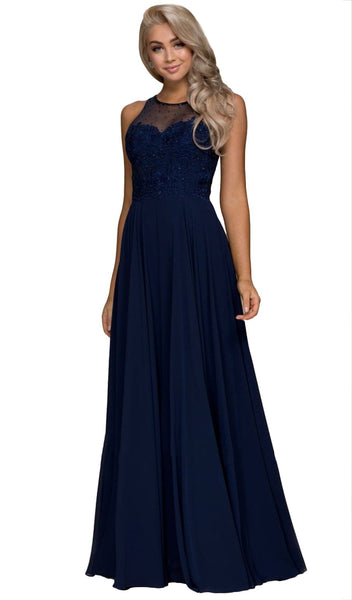 Jeweled Lace Bodice Chiffon A-Line Evening Gown