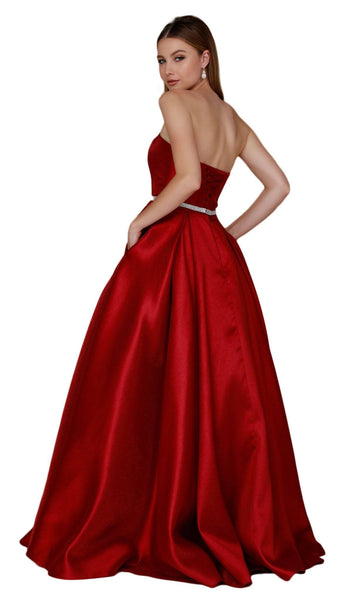 Nox Anabel - Y154 Strapless Pleated A-Line Evening Gown