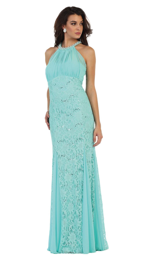 Embellished Halter Sheath Mother of the Bride Dress