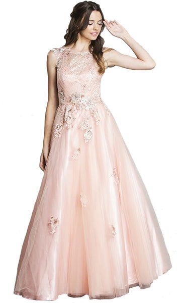 Beaded Floral A-Line Evening Gown - ADASA