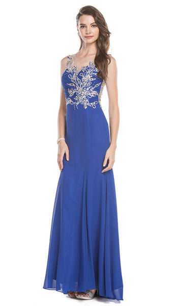 Sheer Sleeveless Embellished Evening Gown