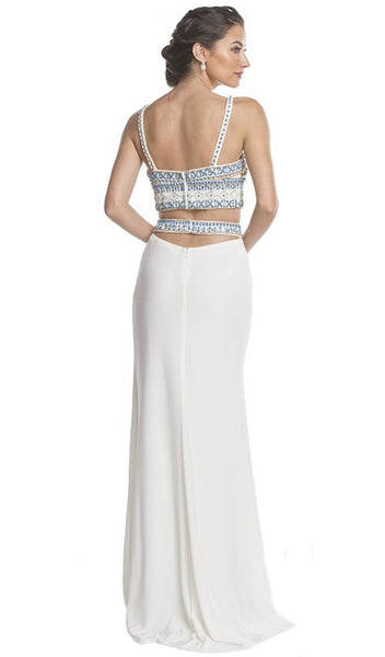 Beaded Two Piece Sheath Evening Dress - ADASA