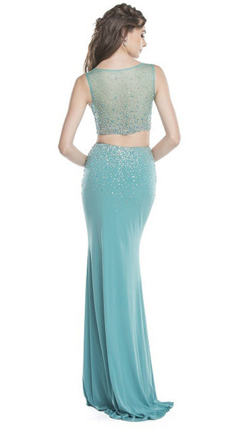 Two Piece Sheer Embellished Evening Dress
