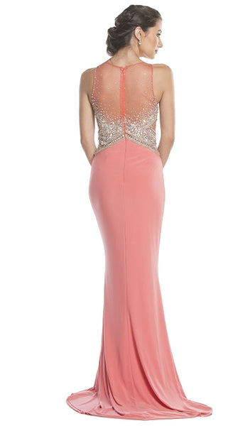 Crystal Embellished Sheath Evening Dress - ADASA