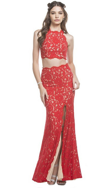 Two Piece Lace Evening Dress with Slit