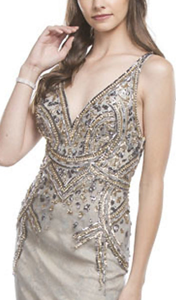 Sequined Plunging Neckline Evening Gown