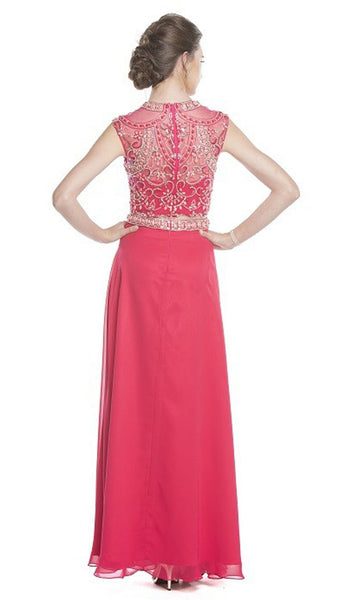 Two Piece Embellished A-Line Evening Dress
