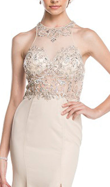 Crystal Embellished Evening Dress with Slit - ADASA