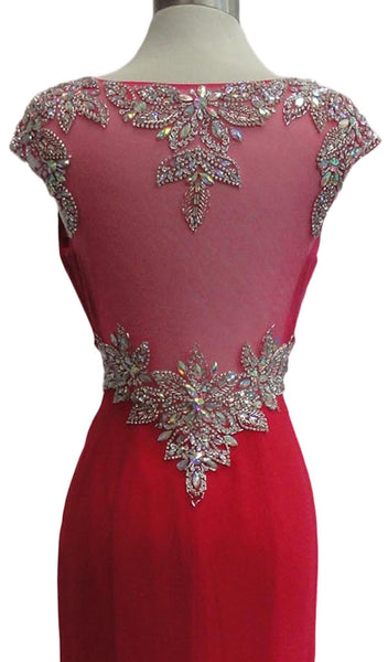 Crystal Embellished Fitted Evening Dress - ADASA