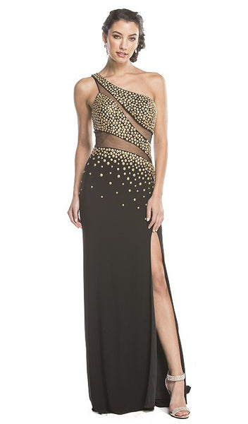 Asymmetrical Embellished Sheer Evening Dress - ADASA