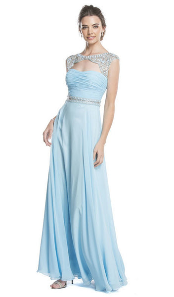 Beaded Ruched A-Line Evening Dress - ADASA