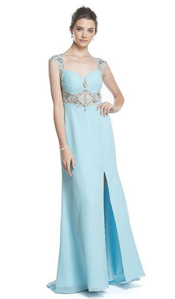 Sheer Embellished Evening Gown with Slit