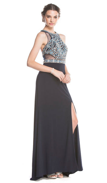 Embellished Halter-Prom Dress