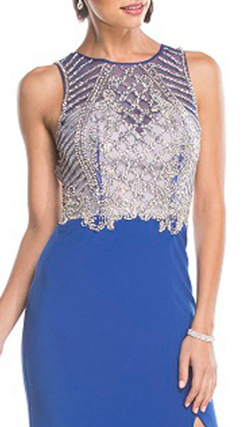 Embellished Jewel Neckline Sheath Evening Dress