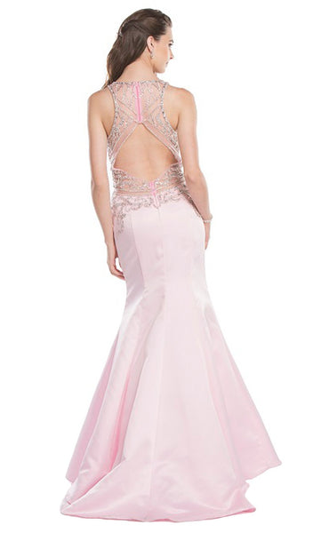 Bejeweled V-neck Mermaid Prom Dress - ADASA