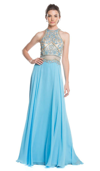 Embellished Illusion Halter A-line Prom Dress