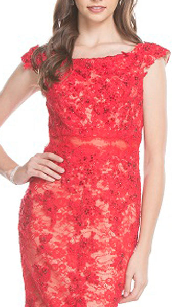 Floral Lace Bateau Fitted Prom Dress