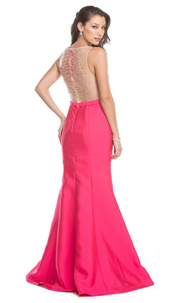 Embellished Illusion Bateau Trumpet Prom Dress