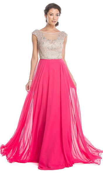 Bedazzled Illusion Bateau A-line Prom Dress - ADASA