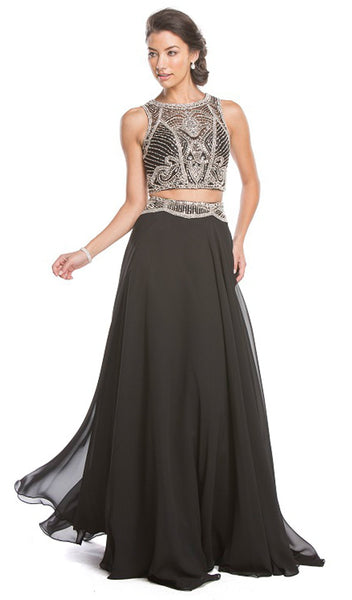 Two Piece Embellished Prom Dress