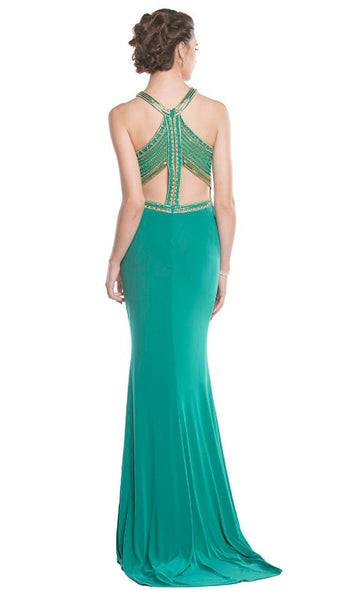 Elegant Embellished Halter Sheath Prom Dress - ADASA