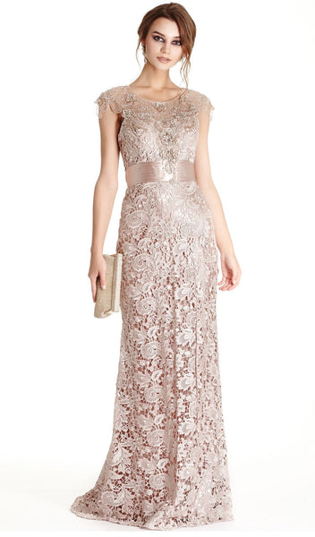 Floral Lace Sheath Mother of Bride Dress