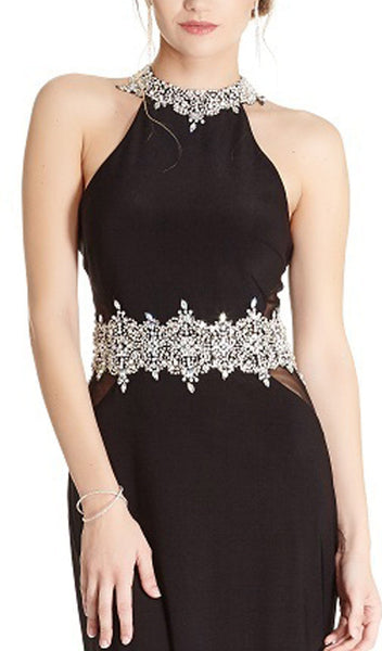 Bedazzled Halter Neck Sheath Prom Dress - ADASA