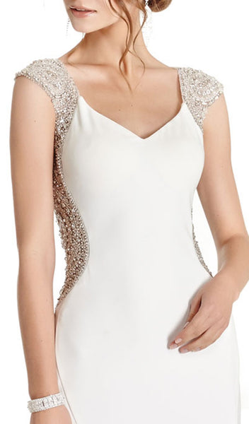 Embellished Cap Sleeve Prom Dress - ADASA