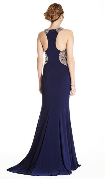 Embellished Jewel Neck Sheath Evening Dress