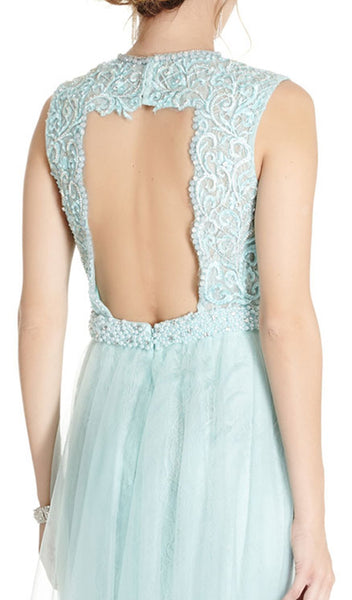 Embroidered Jewel Neck A-line Prom Dress