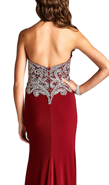 Bedazzled Strapless Sheath Evening Dress - ADASA