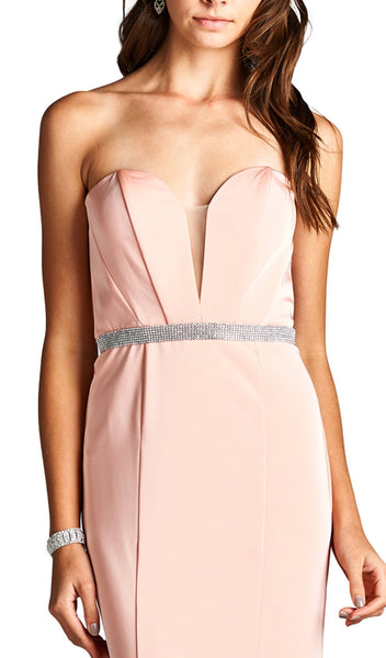 Strapless Deep Sweetheart Sheath Evening Dress