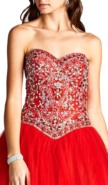 Strapless Bejeweled Sweetheart Evening Ballgown